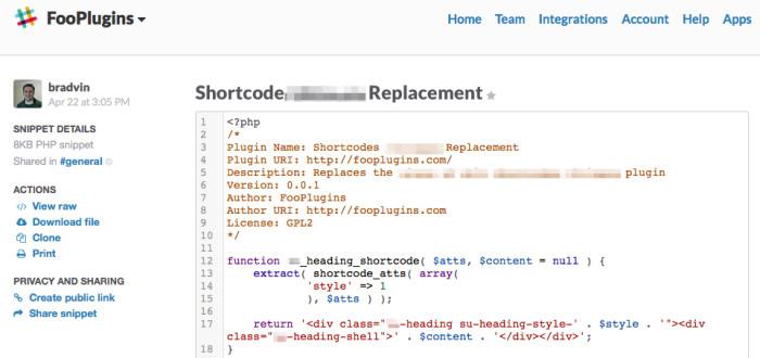 Slack Code Snippet Sharing